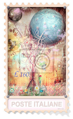 Stamp with enchanted tree in the forest