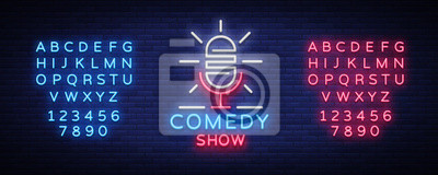 Bild Stand Up Logo in Neon Style. Comedy show is neon sign, symbol, an invitation to a comedy performance, bright banner, neon poster, nightlit advertising. Vector illustration. Editing text neon sign