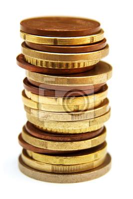 Bild Stapel von Münzen isoliert auf weißem Hintergrund
