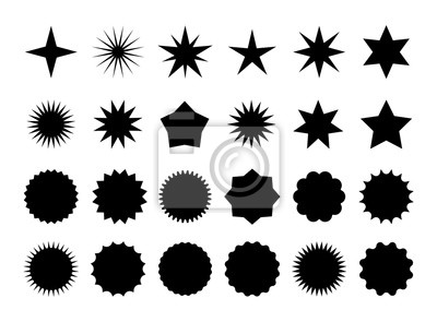 Bild Star burst sticker set. Black flat price tags explosion silhouettes, starburst retro sale badge. Vector illustration star blank label, stickers emblem on white for promo offer sales coupon, banner