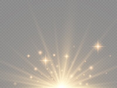 Bild Star explosion, yellow glow lights sun rays.