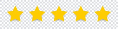 Bild Star icon. Vector yellow isolated five stars. Customer feedback concept. Vector 5 stars rating review. Quality shape design.