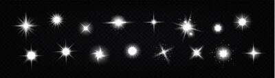 Bild Star light glow, , shiny vector glare, bright white twinkle or explosion effect with radiant beams. Sparkles and magic flare graphic design elements, glitter and fireworks isolated realistic 3d set