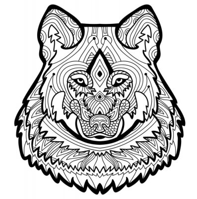 Starker Wolf Wird Von Hand Mit Tinte Gezeichnet Malvorlage