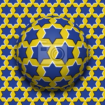 Starry Ball Rollen auf der gleichen Oberfläche. Zusammenfassung Vektor optische Illusion Illustration. Bewegungshintergrund und Fliese der nahtlosen Tapete.