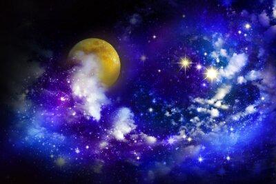 Bild Stars and full moon  in the night sky.