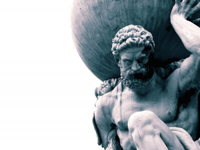Bild Statue of the Greek God Atlas holding the globe on his shoulders.  With colour toning
