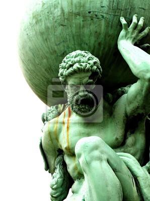 Bild Statue von Atlas Statue von Atlas isoliert auf weißem Hintergrund.