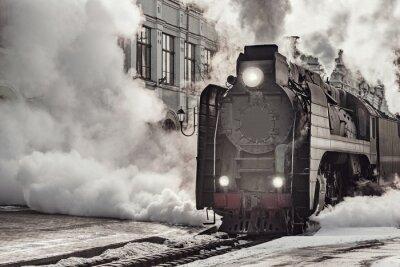 Bild Steam train departs from Riga railway station. Moscow.