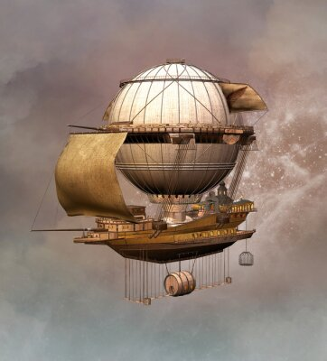 Bild Steampunk Weinleseluftschiff
