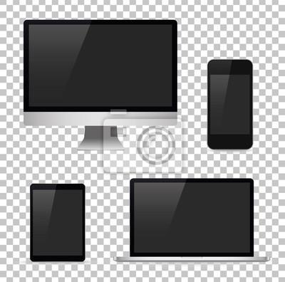 Bild Stellen Sie Computer, Laptop, Tablette, Telefon ein. Vektor-Illustration
