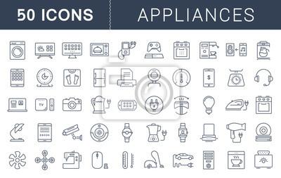 Bild Stellen Sie Vector Flat Line Icons Appliance ein