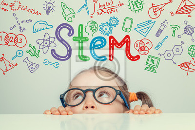 Bild STEM word and symbols over beautiful cute little girl. modern education concept