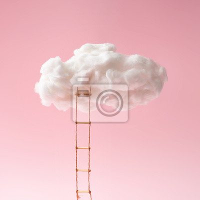 Bild Step ladder leading to clouds . Growth, future, development concept. Minimal pink compostition.