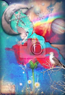 Sternenhimmel mit Hibiskus, Mond, Regenbogen und Vögel.