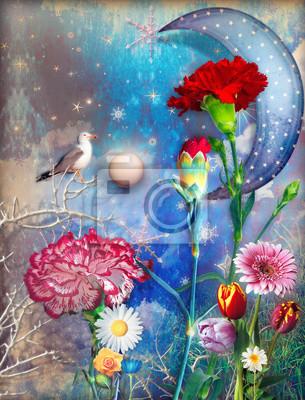Sternenklare Mond und verzauberte Land mit bunten Blumen