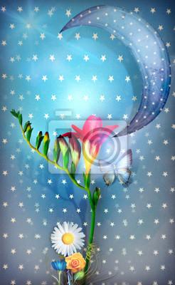 Sternenklare Mondpostkarte mit tropischen roten Blumen und butterflye