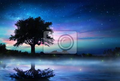 Sternenklare Nacht mit einsamen Baum