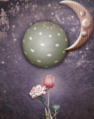 Bild Sternenklare Nacht mit Mond und Blumen des Frühlings