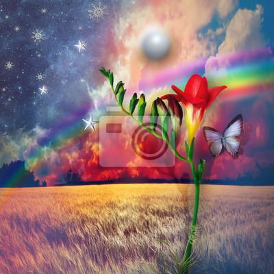 Sternenlandschaft mit Freesie und Regenbogen