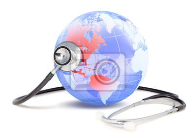 Stethoskop, die den Gesundheitszustand von Amerika überwacht