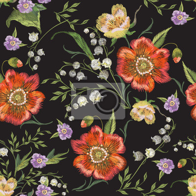 Stickerei bunte floralen nahtlose muster mit mohn und lilien ...