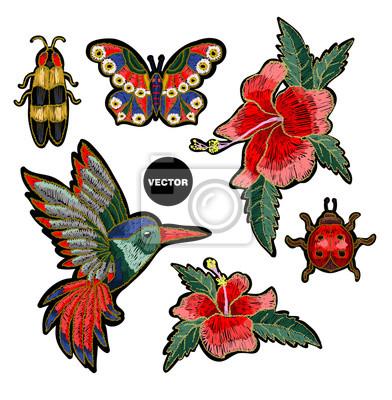 Stickerei Kolibri Und Hibiskus Blumen Vektor Illustration Mit