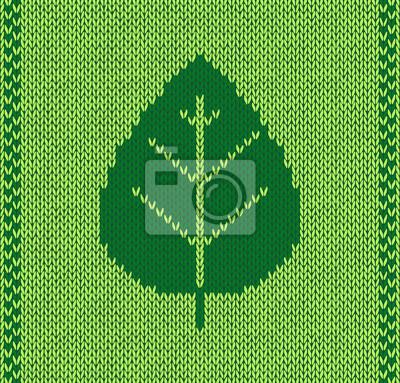 Stil blatt nahtlose grüne strickmuster leinwandbilder • bilder ...