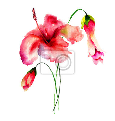 Stilisierte Blumen Aquarell-Illustration