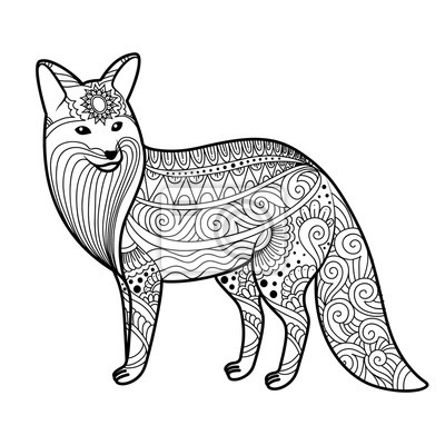 Stilisierte Fuchs In Doodles Musterstil Zentangle Vector Skizze