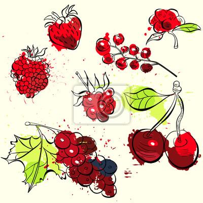 Stilisierte Obst und Beeren Illustration