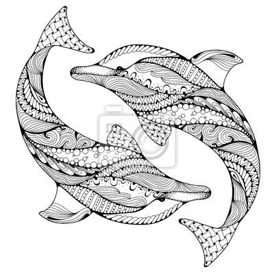 Stilisierte Ozean Delphin Tier Freehand Skizze Für Erwachsene
