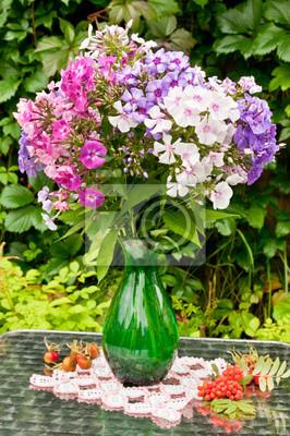 Bild Stilleben Bouquet von Phlox und Äpfel