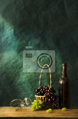 Bild Stilleben mit alten Fotografie Weißwein