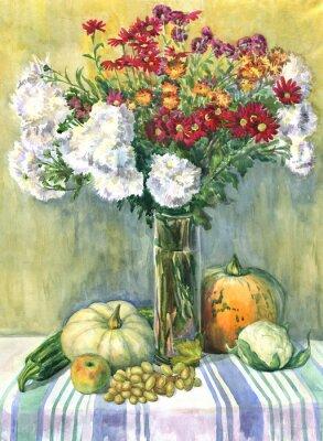 Bild Stilleben mit einem Blumenstrauß, Obst und Gemüse. Aquarellmalerei