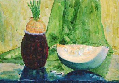 Bild Stilleben mit Kürbis. Aquarellmalerei