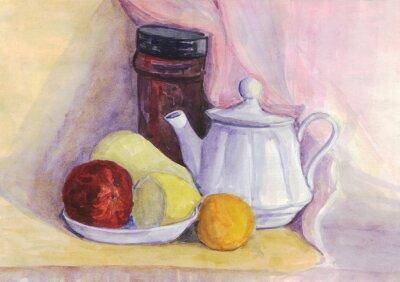 Bild Stilleben mit Obst und Wasserkocher. Birne, Zitrone, Mandarine auf dem Teller. Aquarellmalerei
