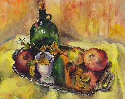 Bild Stilleben mit Rosen, Granatäpfel und eine Flasche Wein auf einem Tablett. Aquarellmalerei