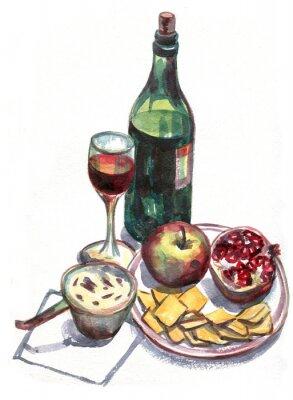 Bild Stilleben mit Wein und Obst. Aquarellmalerei