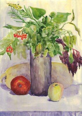 Bild Stillleben. Blumenstrauß, Apfel, Zucchini, Rowan. Aquarellmalerei