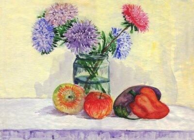 Bild Stillleben. Bouquet von Astern, Äpfel, Paprika, Auberginen. Aquarellmalerei
