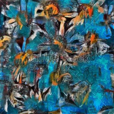 Bild Stillleben ein Blumenstrauß der Gänseblümchen in einer blauen Vase. Expressive pastose Ausführung. Öl auf Leinwand mit Elementen der Pastellmalerei im zeitgenössischen Stil.