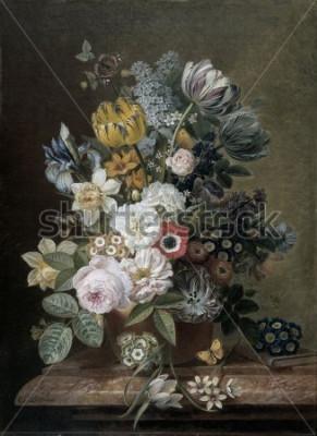 Bild Stillleben mit Blumen, von Eelke Jelles Eelkema, c. 1815-39, holländisches Ölgemälde, Öl auf Leinwand. Blumenstrauß aus Rosen, Tulpen, Narzissen, Iris, auf Steinsockel. Unter den Blumen ist ein Schmet
