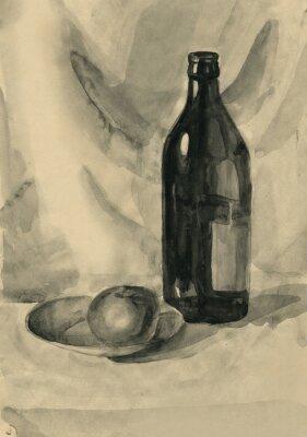 Bild Stillleben mit einer Flasche und einem Apfel, Aquarell