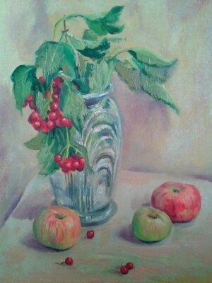 Bild Stillleben mit Strauß und Früchten. Äpfel und rote Johannisbeeren. Ölgemälde