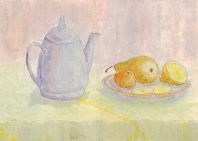 Bild Stillleben mit Wasserkocher und Obst. Birne, Zitrone, Mandarine auf dem Teller. Aquarellmalerei