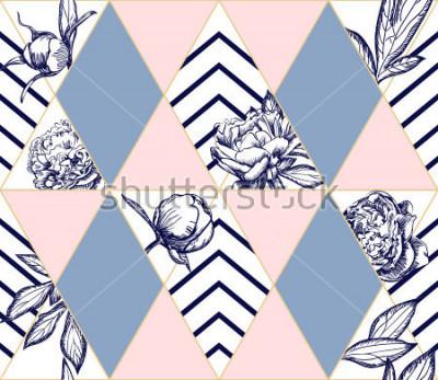 Bild Stilvolles modisches geometrisches nahtloses Muster mit Blumen der Pfingstrose. Ideale Textur für Mode. Vektor Gestaltungselement