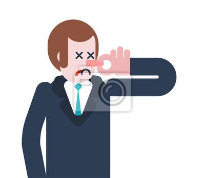 Stink Man Schließen Nase Typ Und Schlechter Geruch Vektor
