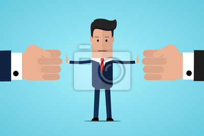 Bild Stop conflict. Businessman referee finds compromise. Mediator solving competition. Conflict and solution. The man throws two fists. Man stop conflict or stop fighting. Vector illustration