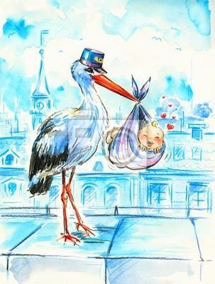 Stork liefert süßes Baby.